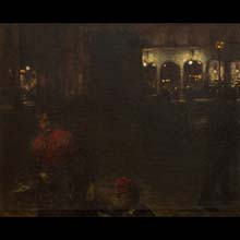 A Motif from Wittelsbach Square in Munich – study for the painting Wittelsbach Square in Munich at Night